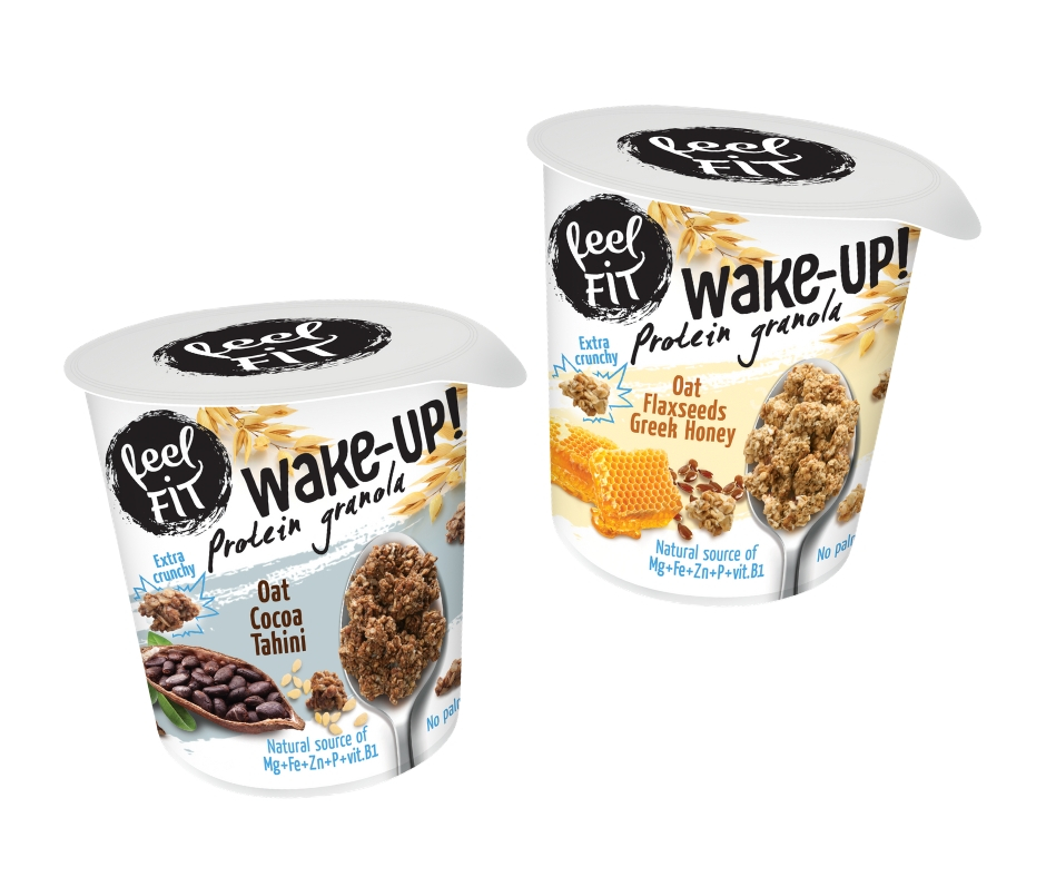 WAKE-UP PROTEIN Granola feel FIT in 2 flavours oat, cocoa, tahini and oat, Greek honey, flaxseeds